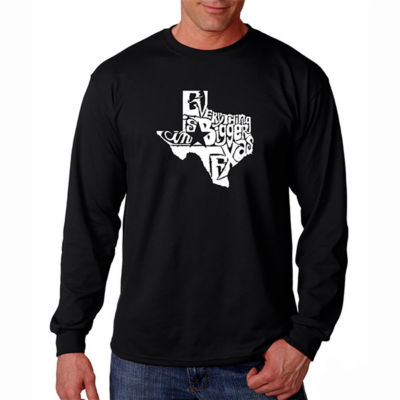 Los Angeles Pop Art Long Sleeve Everything is Bigger in Texas Word Art T-Shirt
