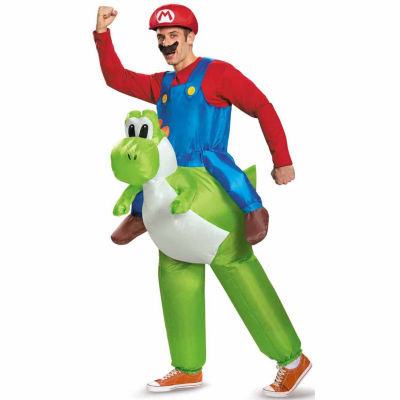 Super Mario Bros: Inflatable Adult Mario Riding Yoshi Costume - One Size Fits Most
