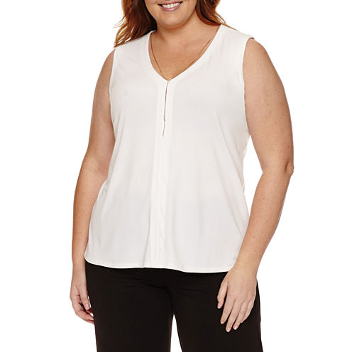 Worthington® Sleeveless Necklace Knit Tank - Plus