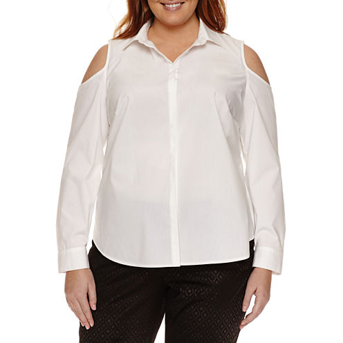 Worthington® Long Sleeve Cold Shoulder Button Front Shirt - Plus