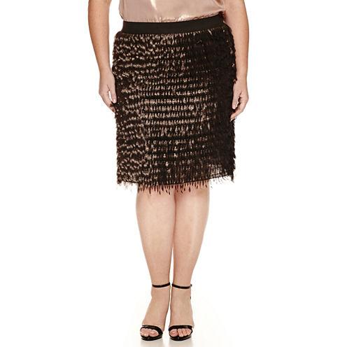Worthington® Elastic Waistband Fringe Skirt - Plus