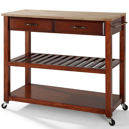 Geary Natural Wood-Top Kitchen Island