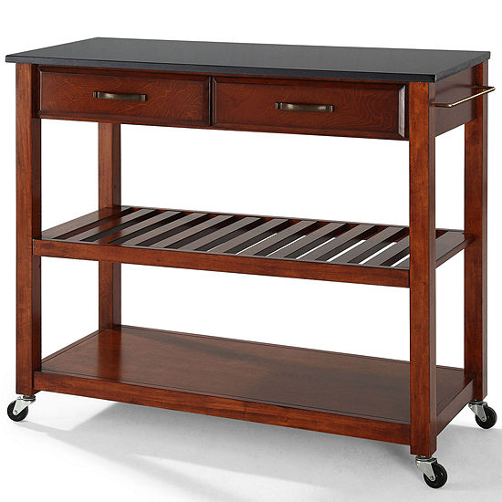 Geary Black Granite-Top Rolling Kitchen Island - JCPenney