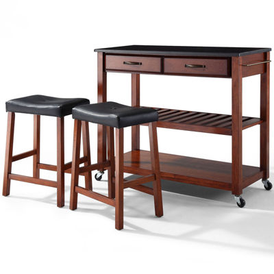 Geary 3-pc. Kitchen Island with 2 Upholstered Stools