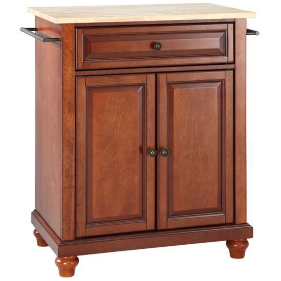 Pelham Small Natural-Wood-Top Portable Kitchen Island