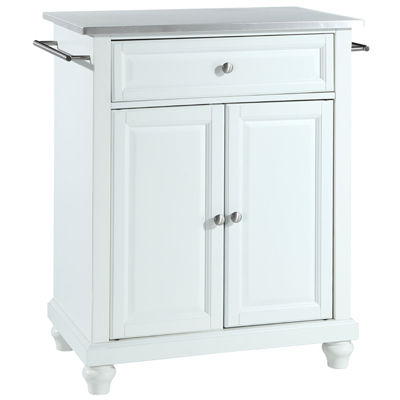 Pelham Small Stainless-Steel-Top Portable Kitchen Island