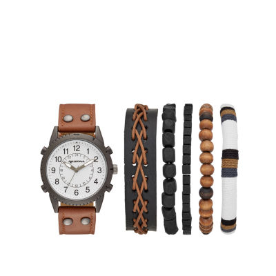 Arizona Mens Brown 6-pc. Watch Boxed Set-Fmdarz546
