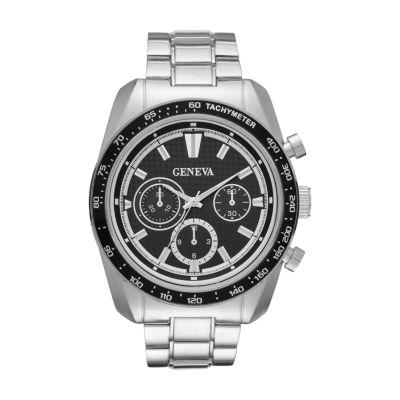 Geneva Mens Silver Tone Bracelet Watch-Fmdjm577
