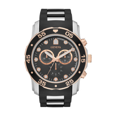Geneva Mens Black Strap Watch-Fmdjm578