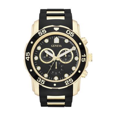 Geneva Mens Black Strap Watch-Fmdjm579