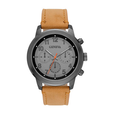 Geneva Mens Brown Strap Watch-Fmdjm582