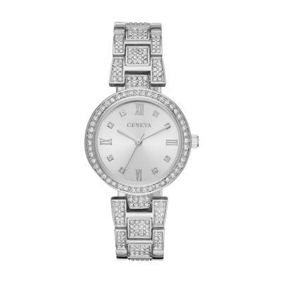 Geneva Womens Silver Tone Bracelet Watch-Fmdjm188