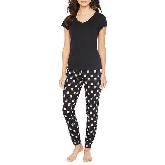 Sleep Chic Womens Pant Pajama Set 2-pc. Short Sleeve