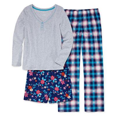 Sleep Chic 3-pc. Pant with Short Pajama Set