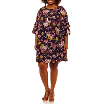 Luxology Elbow Sleeve Floral Shift Dress - Plus