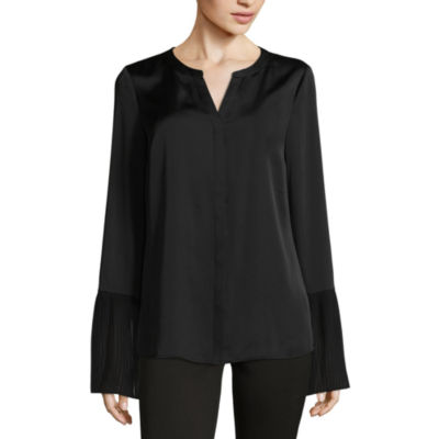 Worthington Long Sleeve Crew Neck Woven Blouse-Tall