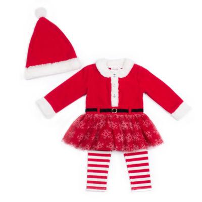 Little Lass 3-pc. Long Sleeve Santa's Tutu Legging Set-Baby Girls