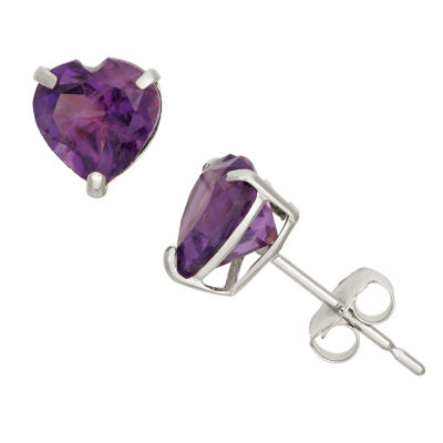 Heart Purple Amethyst 10K Gold Stud Earrings