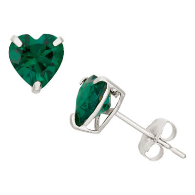 Heart Green Emerald 10K Gold Stud Earrings