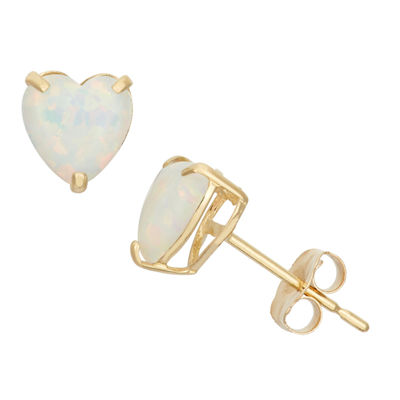 Lab Created White Opal 10K Gold 6.1mm Stud Earrings