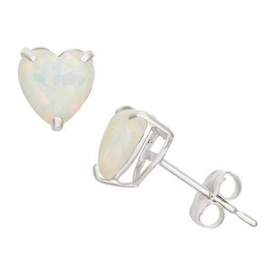 Heart White Opal 10K Gold Stud Earrings