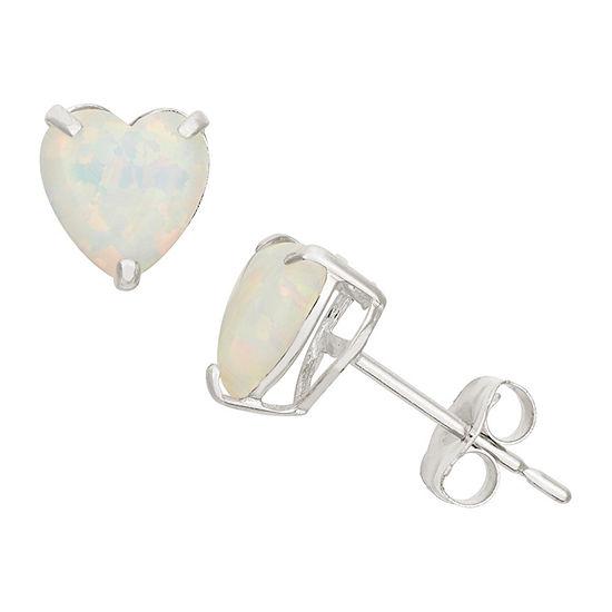 Lab Created White Opal 10K Gold 6.1mm Stud Earrings