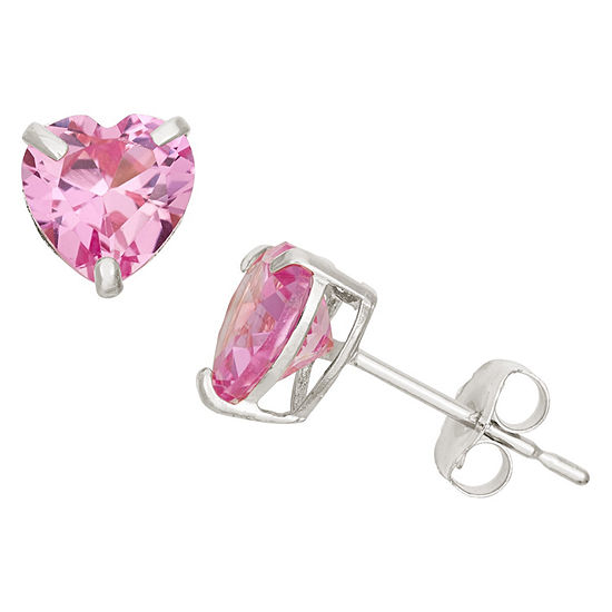 Lab Created Pink Sapphire 10K Gold 6.1mm Stud Earrings