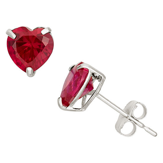 Lab Created Red Ruby 10k Gold 61mm Stud Earrings