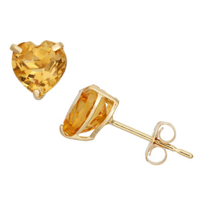 Heart Yellow Citrine 10K Gold Stud Earrings