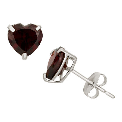 Heart Red Garnet 10K Gold Stud Earrings