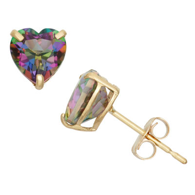 Genuine Mystic Fire Topaz 10K Gold 6.1mm Stud Earrings