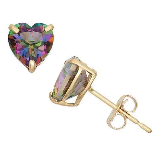 Genuine Mystic Fire Topaz 10K Gold 6.1mm Stud Earrings