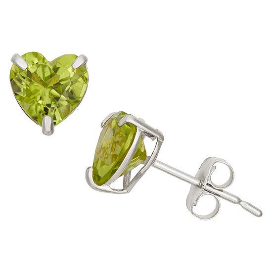Genuine Green Peridot 10K Gold 6.1mm Stud Earrings