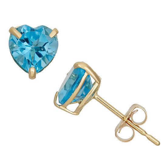 Genuine Blue Topaz 10K Gold 6.1mm Stud Earrings