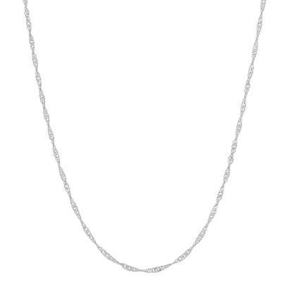 Sterling Silver 20 Inch Semisolid Singapore Chain Necklace