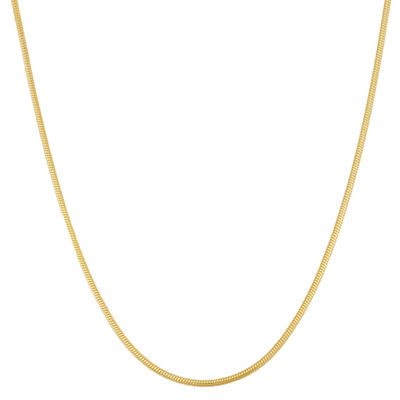 14K Gold Over Silver 22 Inch Semisolid Snake Chain Necklace