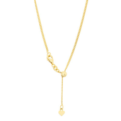 14K Gold Over Silver 22 Inch Semisolid Curb Chain Necklace