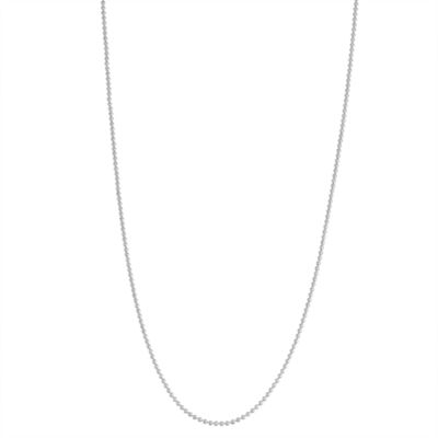 Sterling Silver 22 Inch Semisolid Bead Chain Necklace