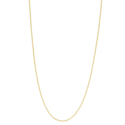 14K Gold Over Silver Semisolid Bead 22 Inch Chain Necklace