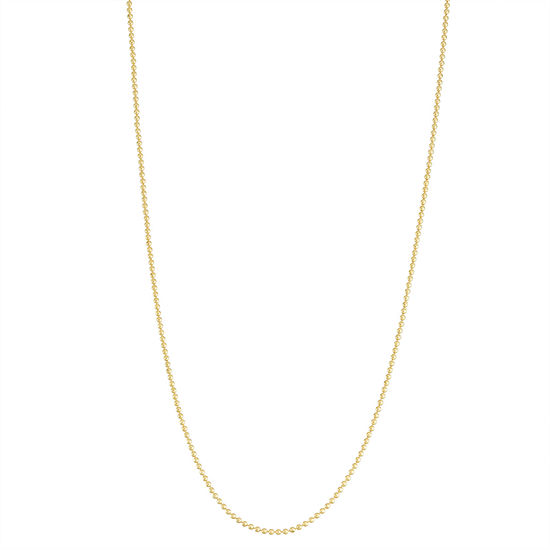 14K Gold Over Silver 22 Inch Semisolid Bead Chain Necklace