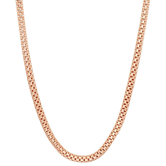 14K Gold Over Silver 18 Inch Semisolid Curb Chain Necklace