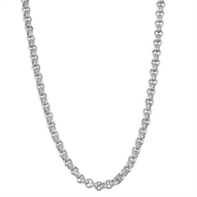 Sterling Silver Semisolid Curb 16 Inch Chain Necklace