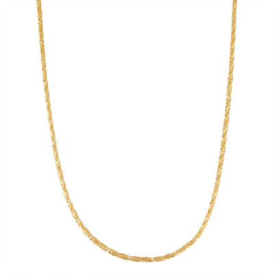 14K Gold Over Silver Semisolid 24 Inch Chain Necklace