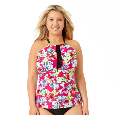 allure by img floral tankini swimsuit top-juniors plus - jcpenney