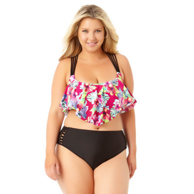 Allure By Img Floral Flounce Swimsuit Top-Juniors Plus