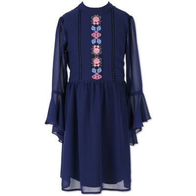 Speechless Long Sleeve Bell Sleeve Shift Dress - Big Kid Girls