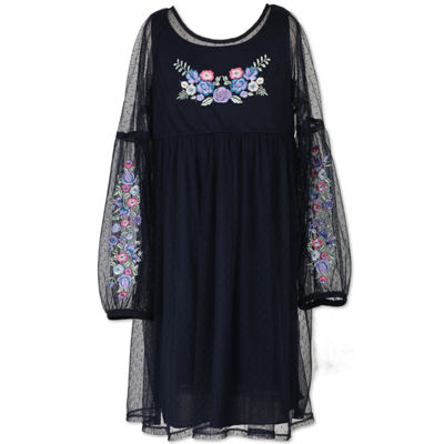 Speechless Long Drop Shoulder Sleeve A-Line Dress - Big Kid Girls