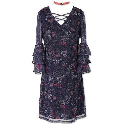 Speechless 3/4 Sleeve Bell Sleeve A-Line Dress - Big Kid Girls