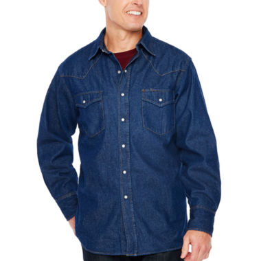 Ely Cattleman Flannel Lined Denim Snap-Front Shirt