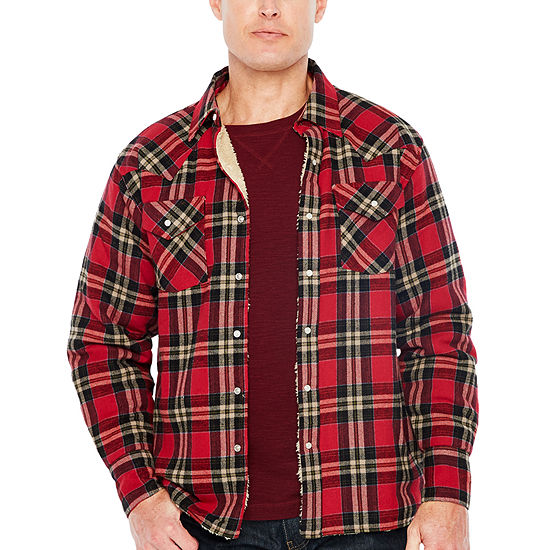 Ely Cattleman Long Sleeve Sherpa Lined  Brawny Plaid Snap-Front Shirt-Tall